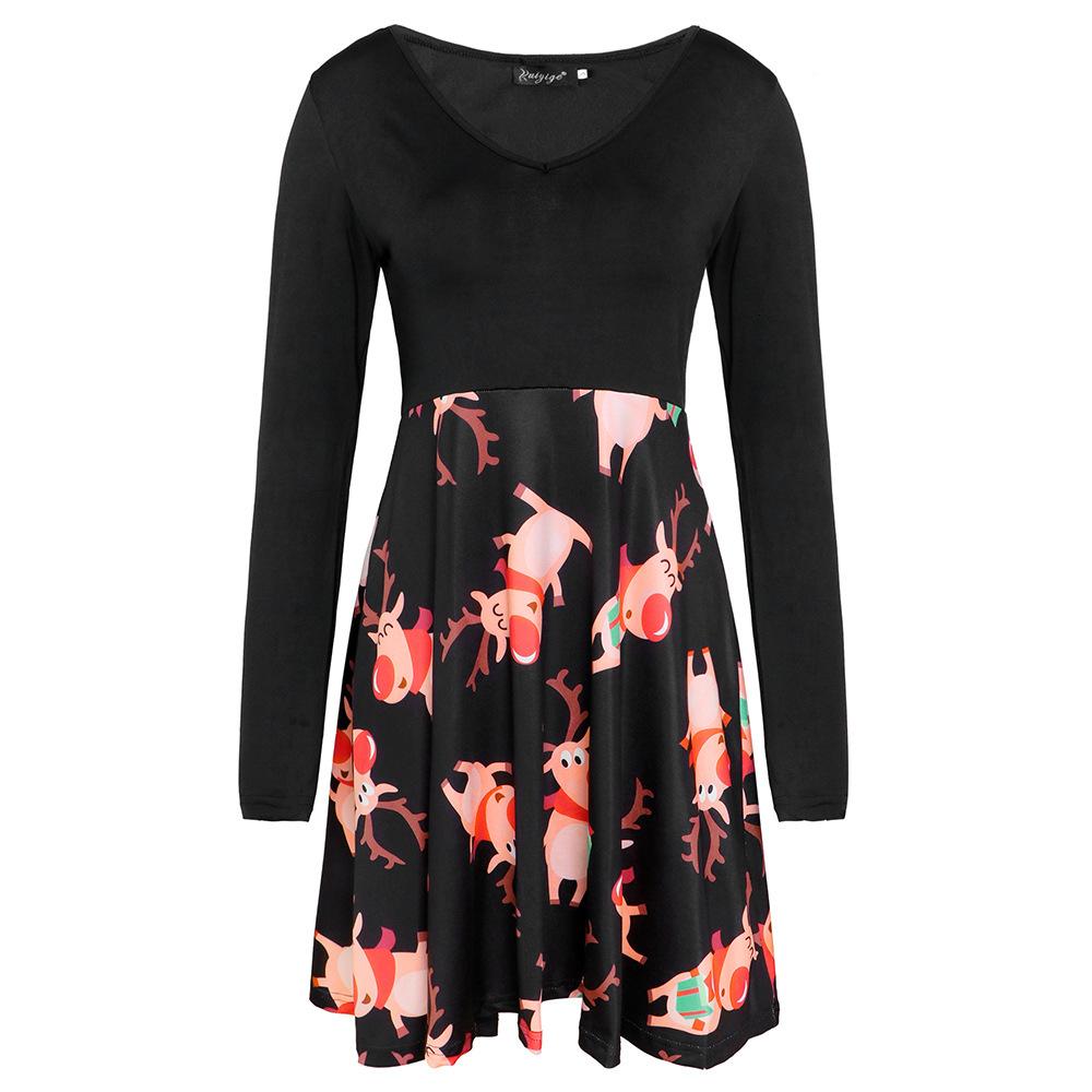 Modedesigner Damen Rock Herbst neue Langarm V-Ausschnitt Print Kleid Damen Mode lässig Rock eng