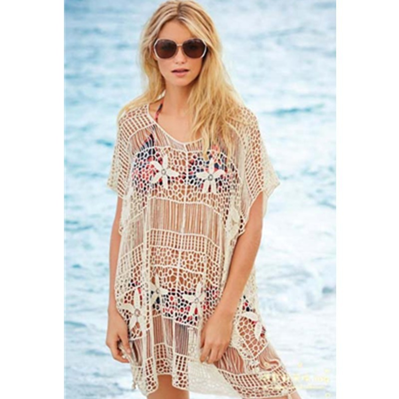 Floral Hollow Print Crochet-knit Ladies Beach Dress Cover Up Sexy Beachwear 2015 Hot Sale Nude See Through Style L38206 (1)