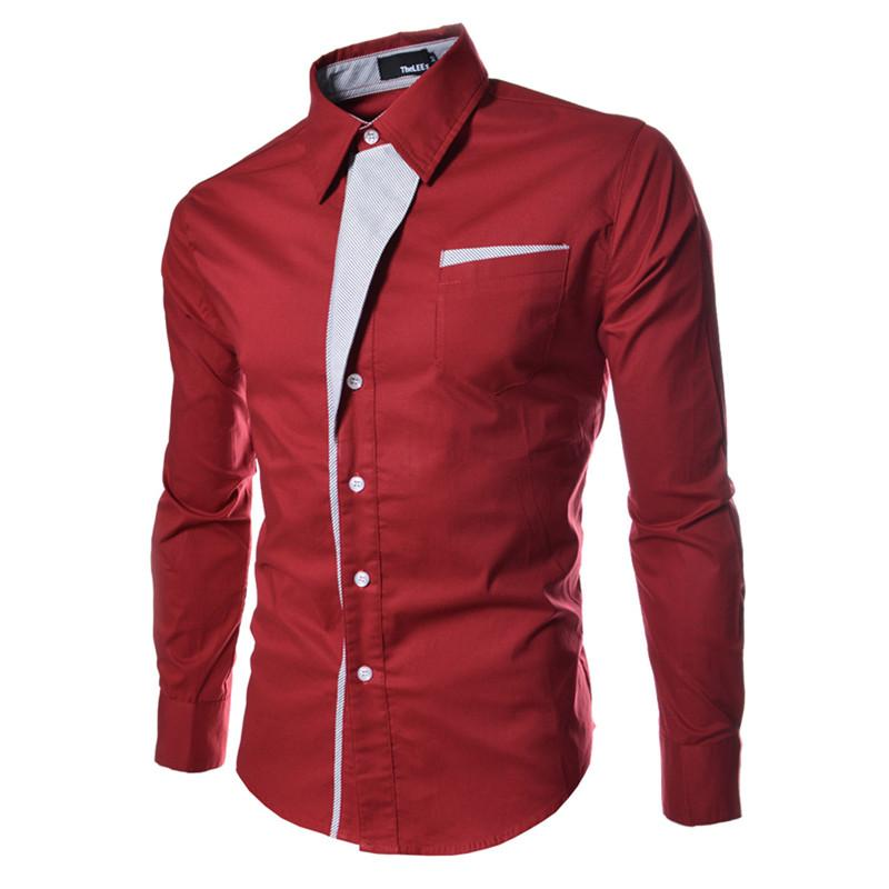 Hot Selling Solid Men's Dress Shirts Slim Long Sleeve Single-breasted Fashion Casual Clothing Men Trendy Shirts Tops M-3XL