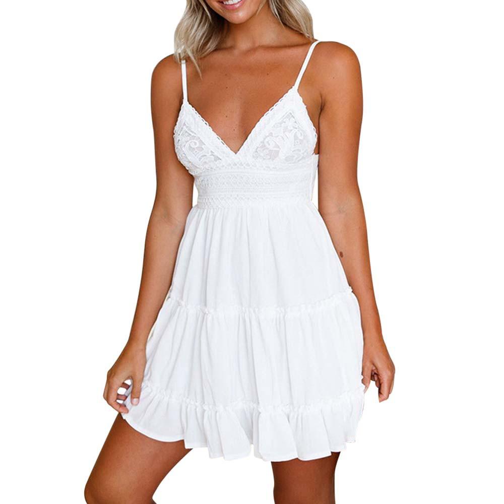 Women Sexy Bow Backless Dress 2018 Summer Beach Sundress V Neck Yoke Frill Trim White Lace Dresses Elbise #BF