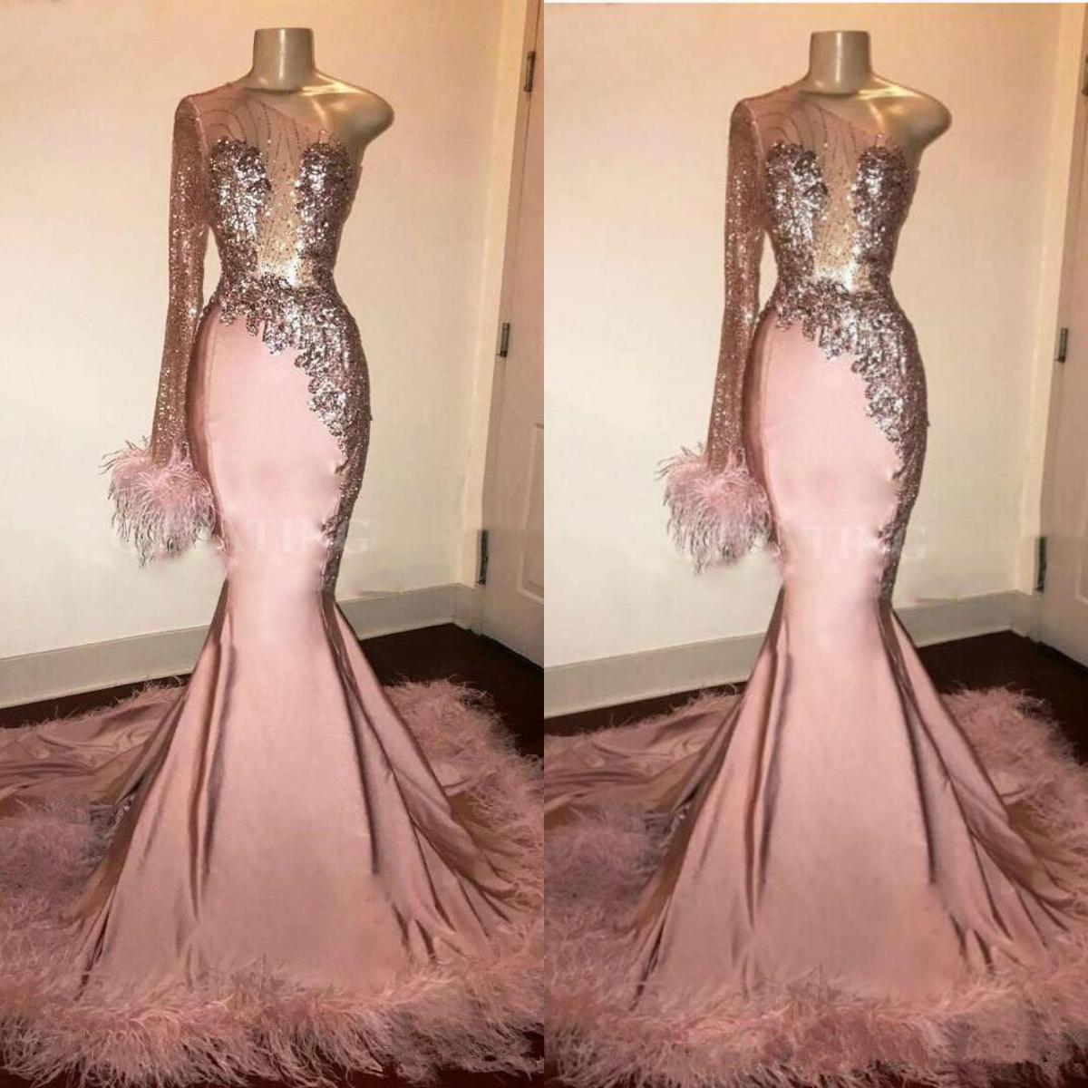 Glitzer-Pailletten-Abendkleid lange Hülse Mermaid Rosa schwarze Mädchen mit  Federn Zug einer Schulter African formalen Abendkleider vestido
