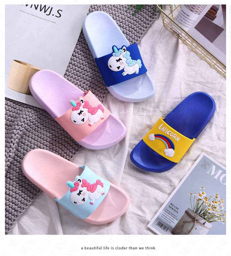 Cwait Kids Open Toe Cute Slippers Summer House Indoor Slipper Shoes