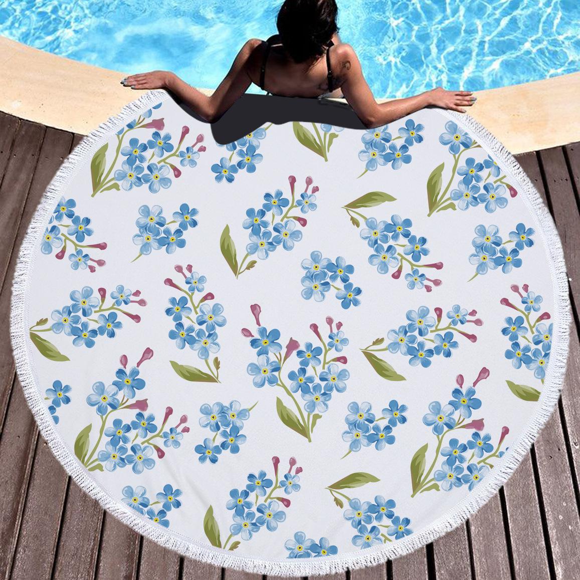 White Bouquet roxo Impresso microfibra Rodada Toalhas de praia toalha de banho para adultos dos miúdos Mat Yoga borlas Blanket Home Decor