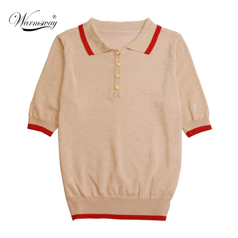 Knitted Summer T Shirt Women Casual Lurex T-Shirt Breathable Elasticity Top Female tee Roupa Feminina B-084