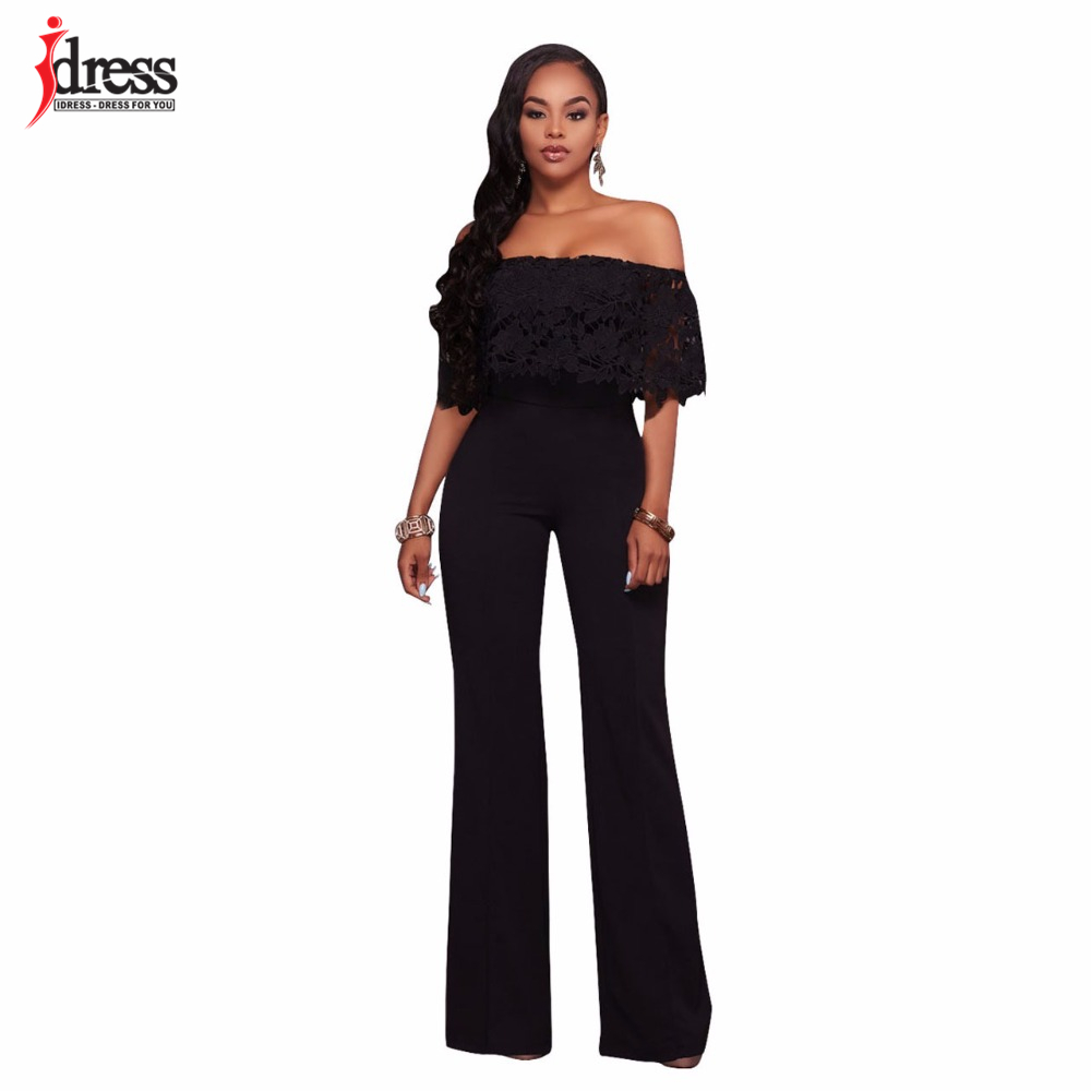 IDress Lace Crochet Rompers Women Jumpsuit Sexy Strapless Bodycon Jumpsuit Wide Leg Black White Yellow Long Pant Romper Overalls (6)
