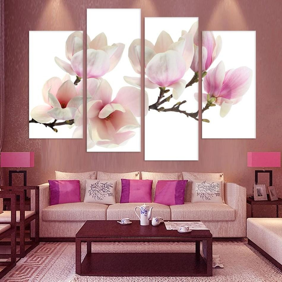 Canvas Art Posters Prints /Pcs Peach Blossom Flower Modular Painting HD Wall Frame Pictures For Living Room Home Decor