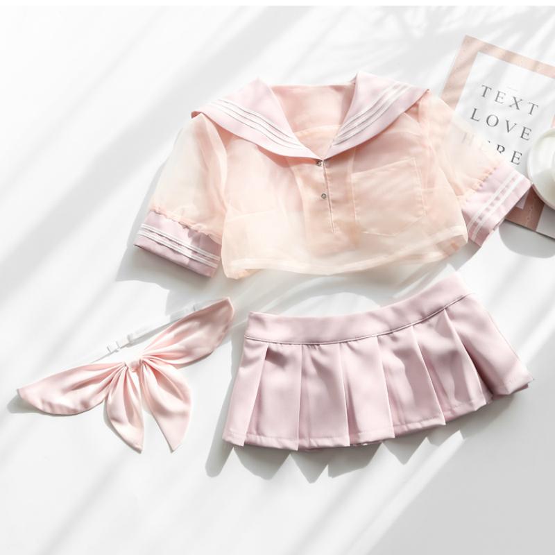Bonito rosa marinheiro vestido lolita roupa erótica japonês lingerie traje escola menina uniforme sexy kawaii lingerie underwear set y190601