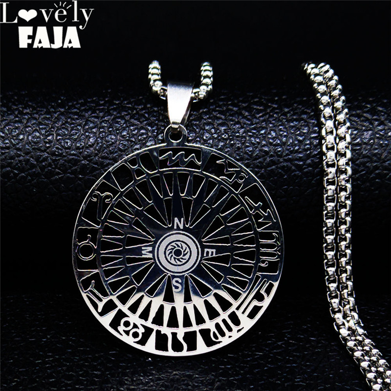 Gothic Authentic Alloy Jewelry Round Compass Pendant For Men Vintage Punk Rock High Polished Thai Silver Jewelry