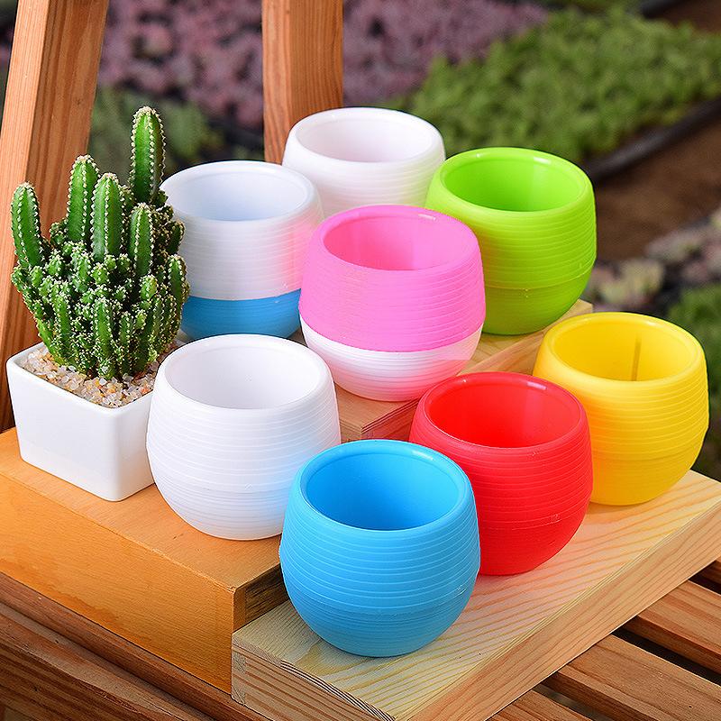 Carrywon Pot For Mini Colorful Round Plastic Flower Pots Home Office Plant Decorative Crafts Farmhouse Decor C19041901