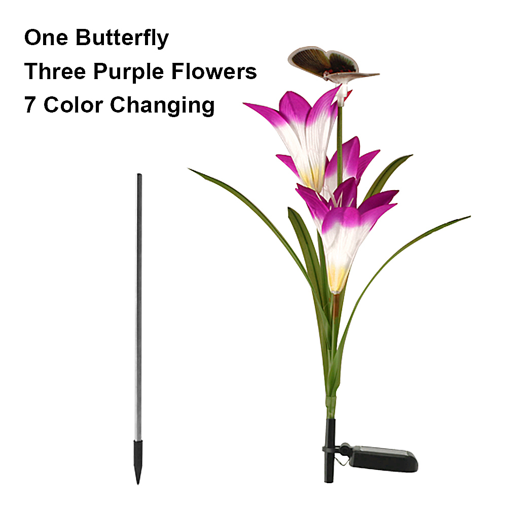 3 Pack LED Fairy Lights Outdoor Lighting Garden ButterflyDragonfly Flower Solar LED Light Decoration Holiday Xmas Wedding Party 7 Colours Change (12)