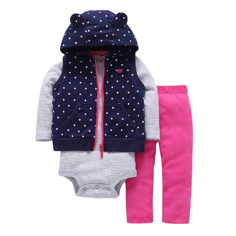 BABY GIRL HOODED SET cute dot vest+Long sleeve stripe rompers+pants infant toddler clothing spring autumn newborn boy outfits