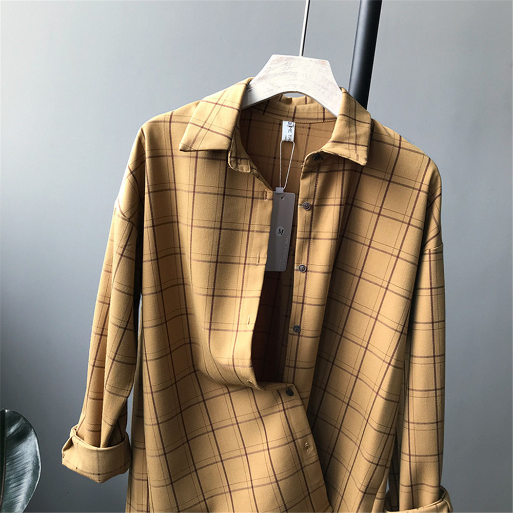 Loose cotton Checkered plaid College blouses shirt Cage female long sleeve Casual women Blouse shirt office lady tops (9)