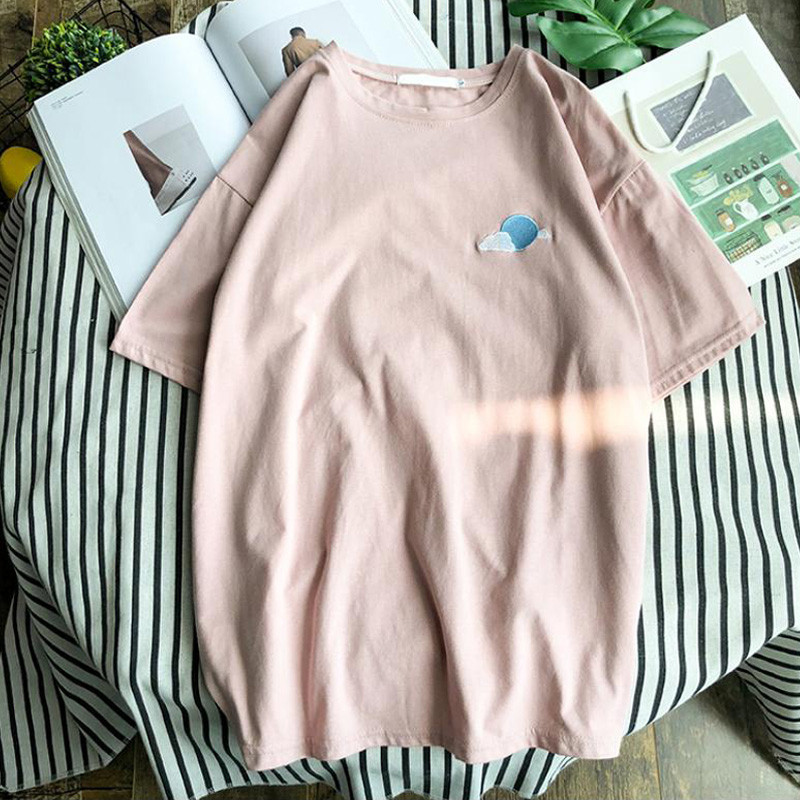 Hirsionsan Harajuku Summer Short Sleeve T Shirt Women Casual Weather Embroidery Tshirt Female Korean Cute Cotton Tops Tees Q190518