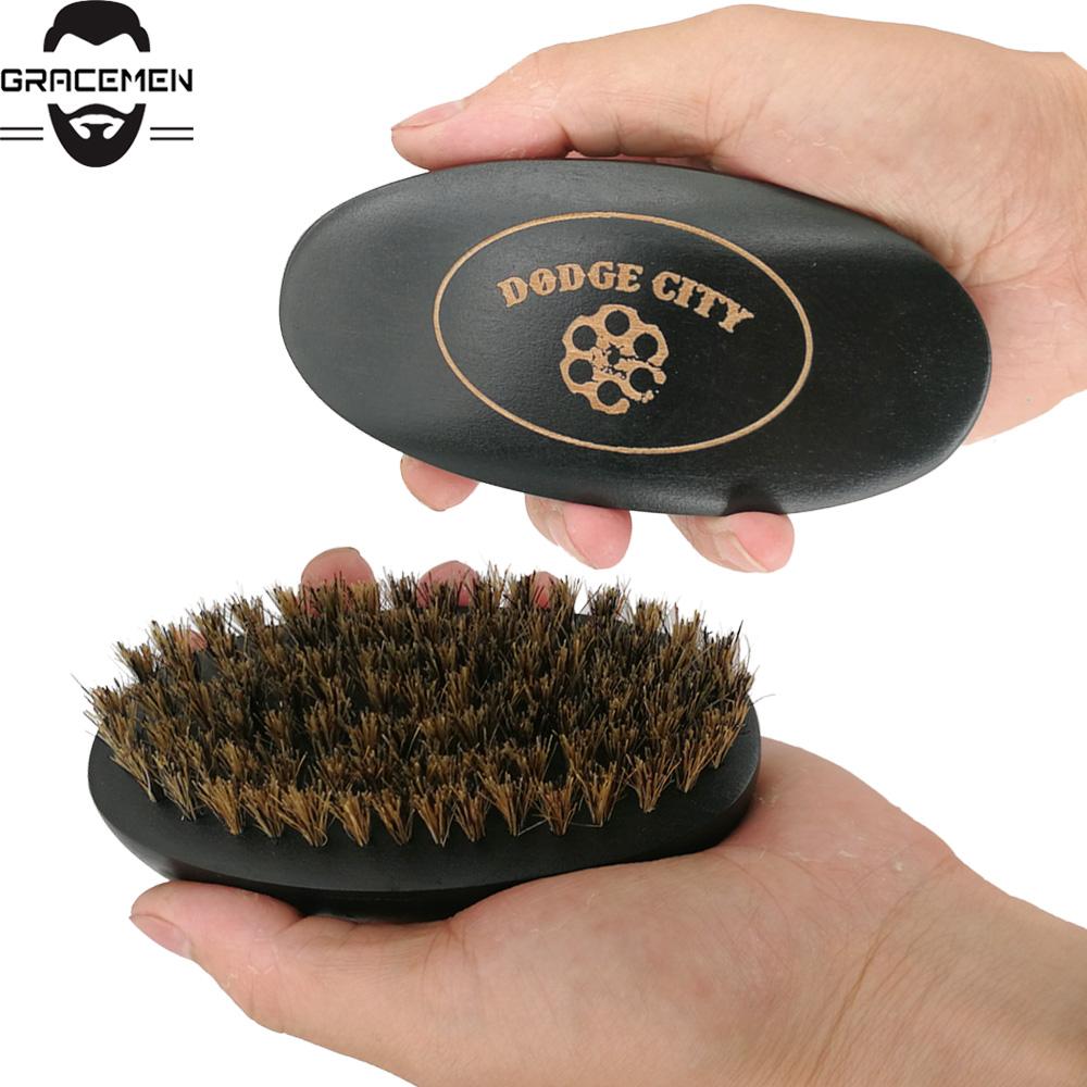 MOQ 50pcs OEM Custom LOGO Black Wooden Beard Brush Premium Boar Bristle Wood Hair Brush Customized LOGO Facial Brush for Men Grooming