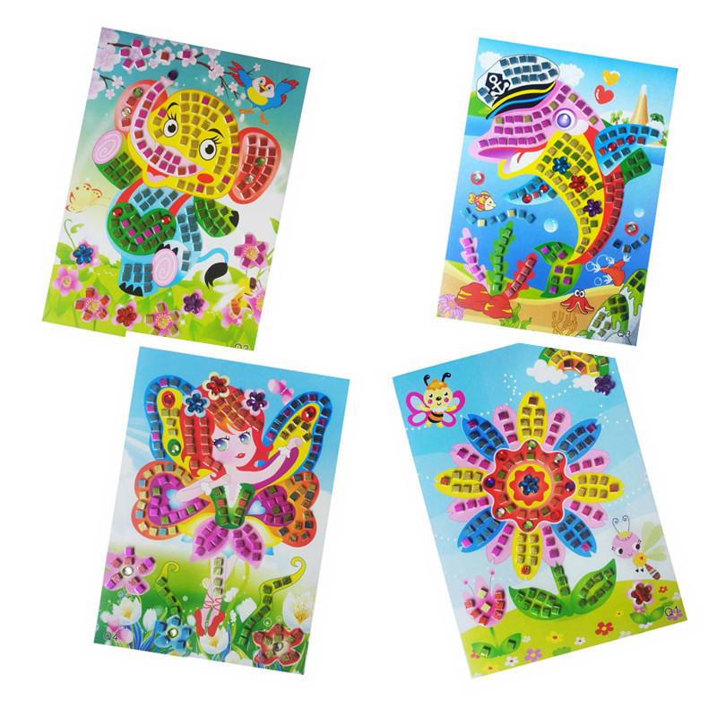 Mosaic Stickers Puzzle Toys For Children Glitter Eva Kindergarten Baby Diy Art Craft Preschool Brinquedos Oyuncak 18