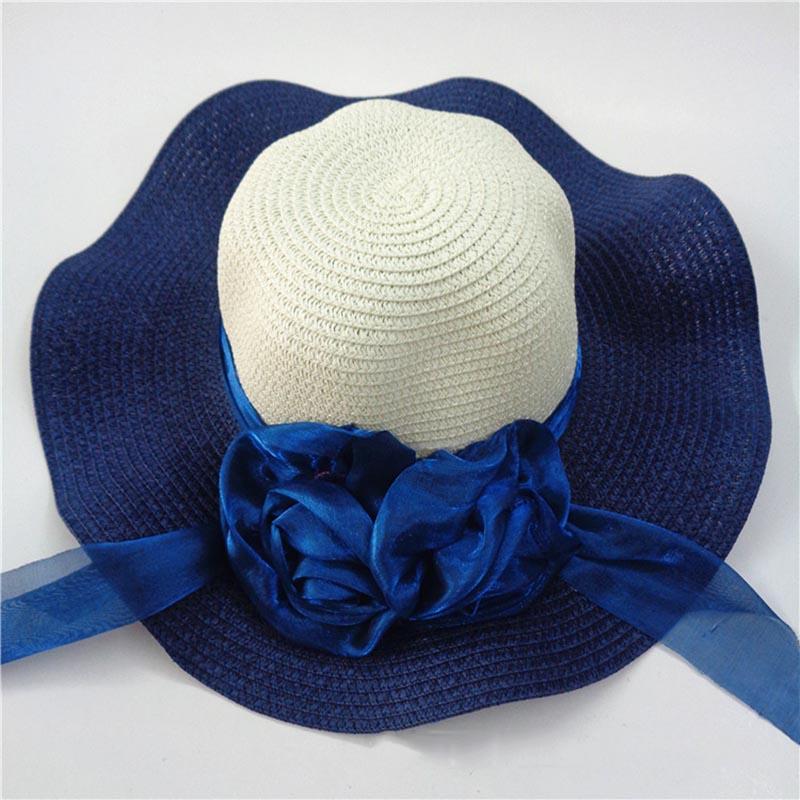 Fashion Straw Hat Flower Ribbon Summer Beach Wide Brim Fisherman Sunscreen Folding Hand Made Casual Wave Girls Hats CP0238 (2)