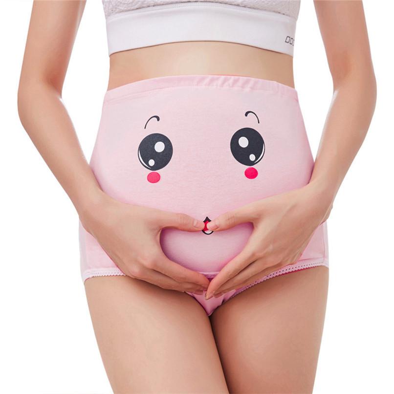 M-XXXL Pregnancy Maternity Clothes Cotton Women Pregnant Smile Printed High Waist Underwear Soft Care Underwear Clothes S14#F (43)