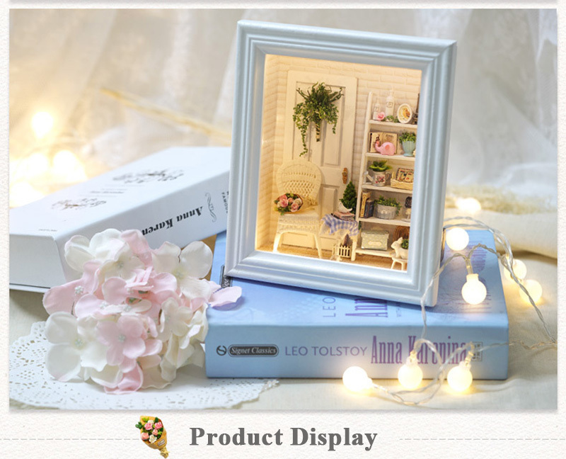 Doll House Frame Miniature with Furniture Model Building Kits DIY Wooden Dollhouse Miniaturas Toys for Children Birthday Gift (7)