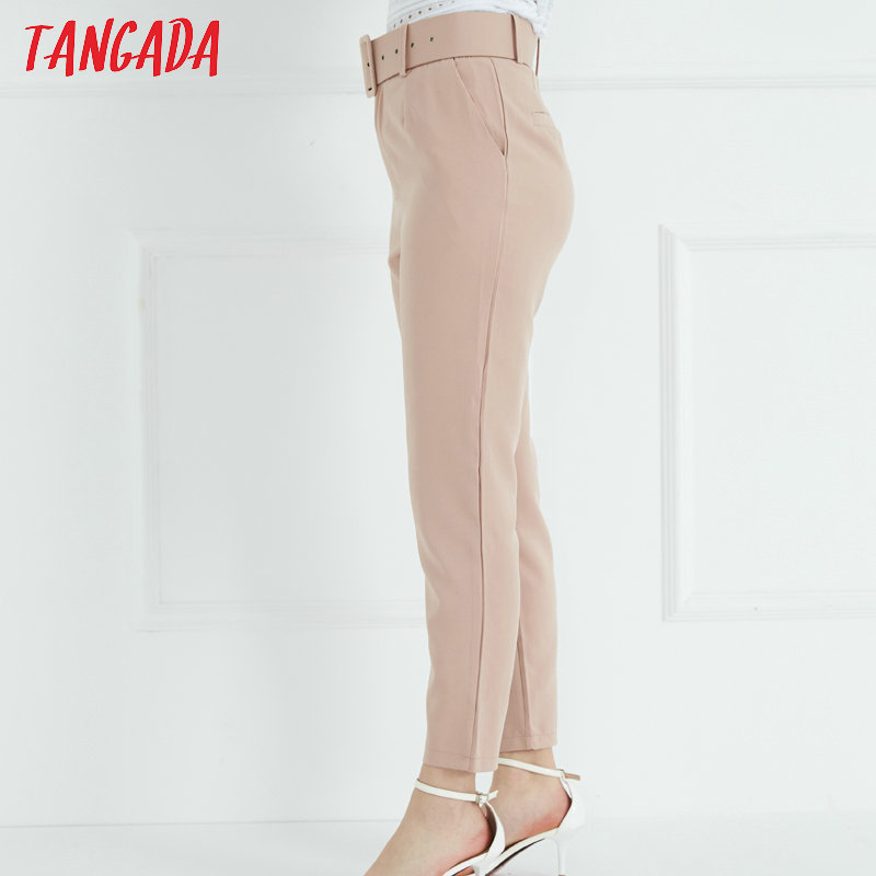Tangada Femmes Pantalon Rose Poches Taille Haute Avec Ceinture Costume Femme Pantalon Casual Cheville Longueur Chic Pantalon Pantalones 6a153 MX190716
