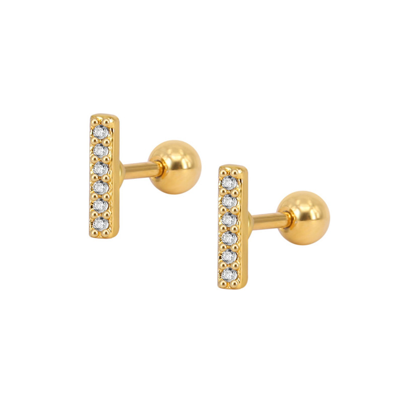 Fashion CZ Clear Crystal Gem Zircon Bar Earrings Korean Style Bone Nails Round Stud Earring for Elegant Girls Women Design Party Jewelry