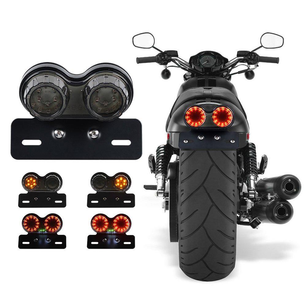 Motorcycle Quad ATV Dirt bike Cross Rear Tail Light Brake License Plate LED Lamp