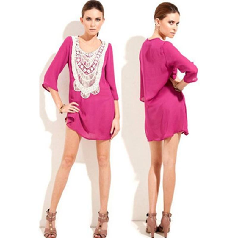 White Flower Lace Neckline Pink Chiffon Beach Shirt Cover Up Beach Dress Long Sleeves Beachwear L38202