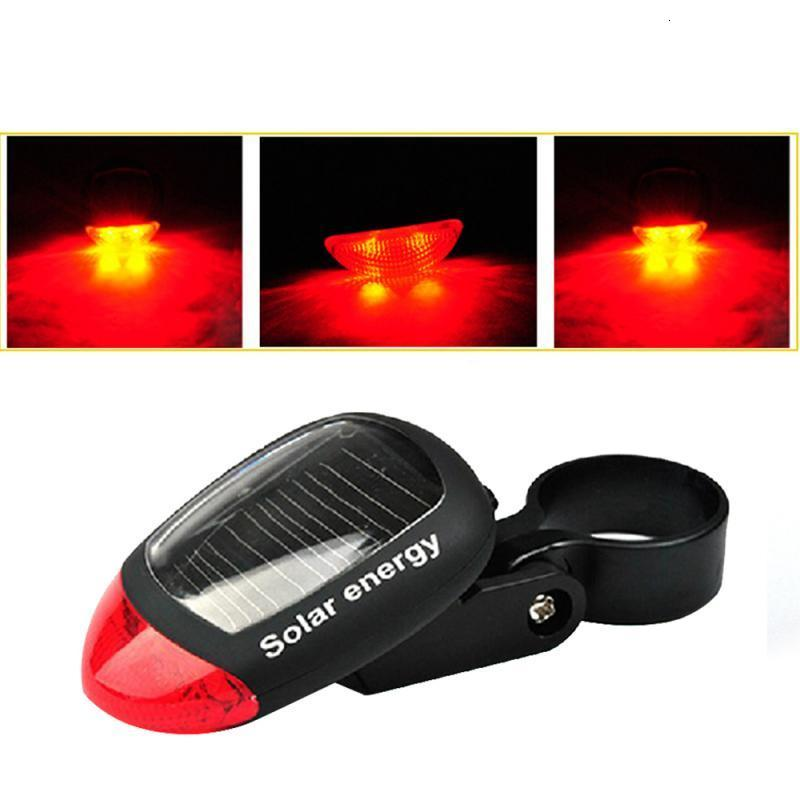 Solar Rechargeable Bike Bicycle Rear Safety Led Tail Light Red Lamps Outdoor US
