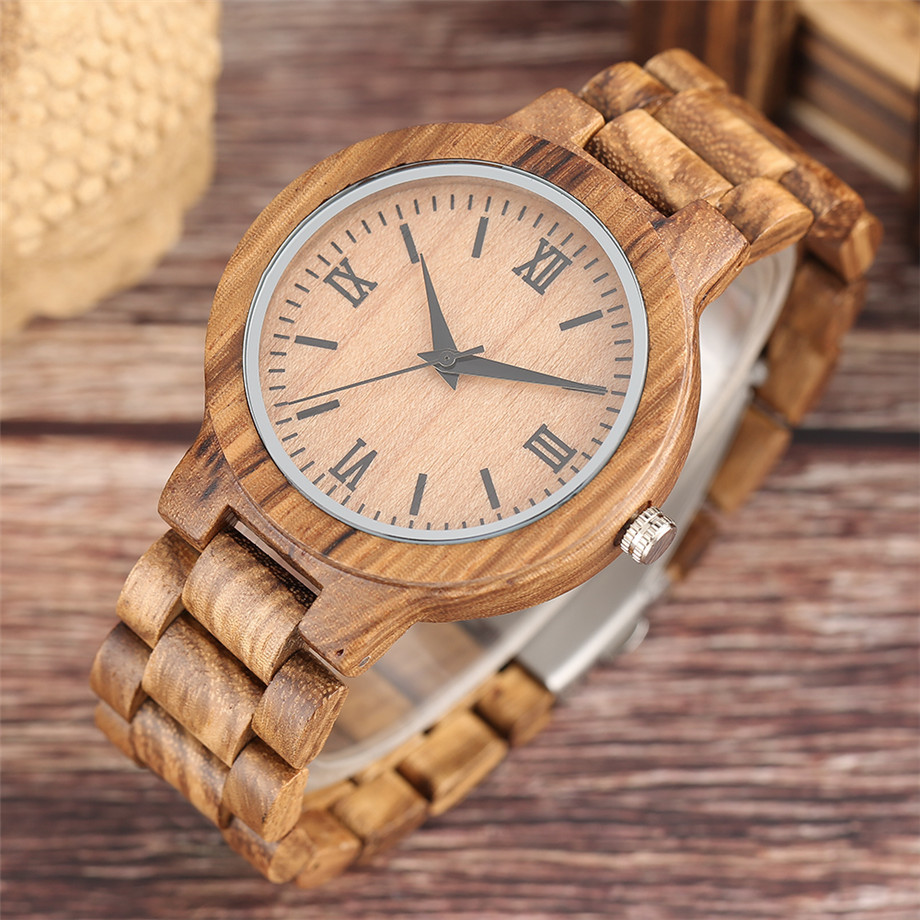 Bamboo zebra wood watch roman numerals dial ladies watch21