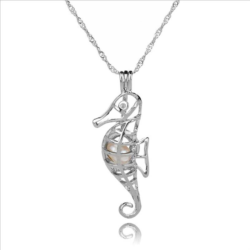 Cage Pendant Necklace New Love natural Pearl with Oyster Pearl Hollow Locket Charm Pendant Necklace Wholesale