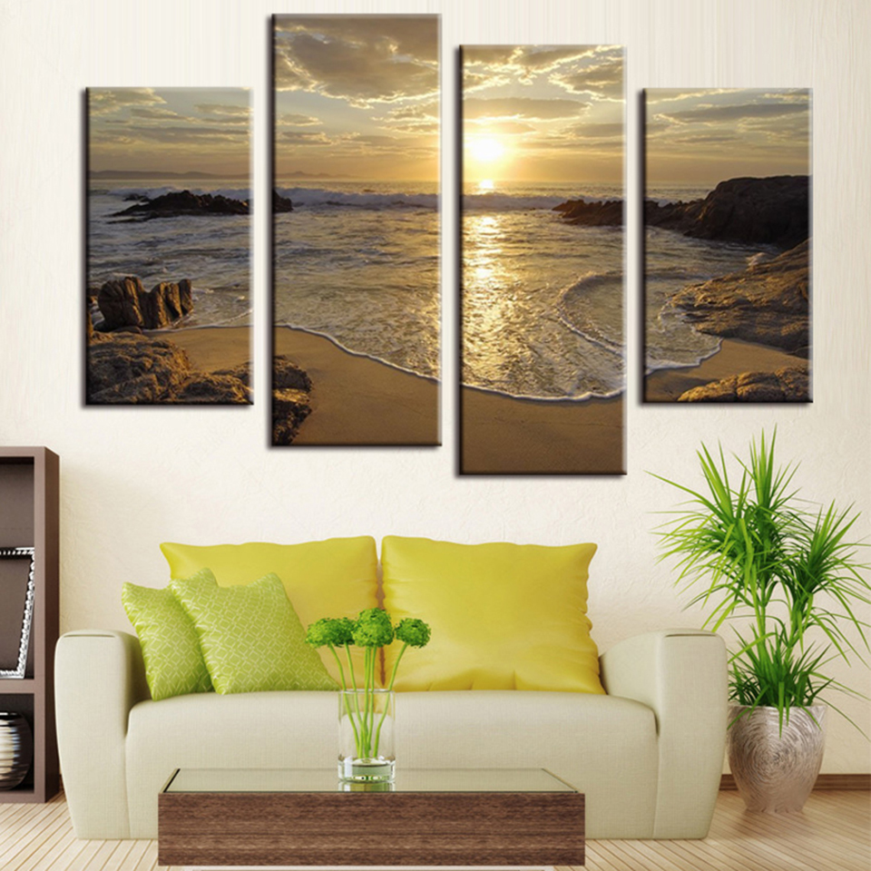 Wall Art Poster Modern Home Modular Pictures 4 Panel Sunset Marine Landscape Frame Decoration Living Room Canvas HD Print Painting