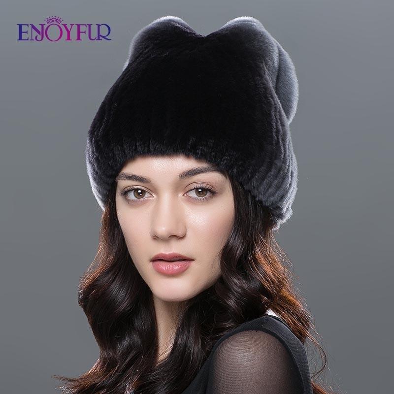 Real Rex fourrure de lapin chapeau chaud Bonnet Tricot Chapeau russe cosaque hiver pilote