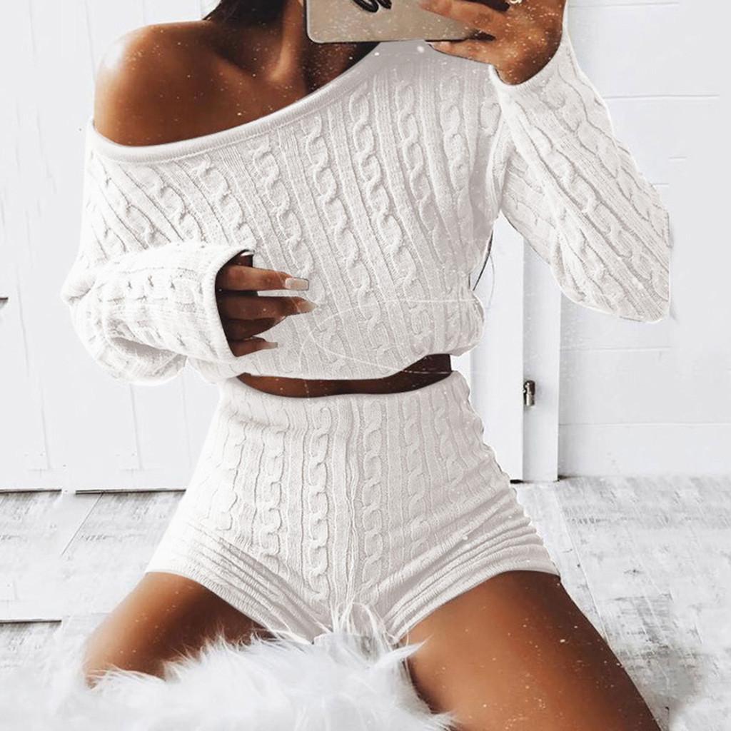 Womens Off Shoulder Sweatshirt Long Lantern Sleeve Crop Tops High Waist Bodycon Pants Set 2 Piece Outfit