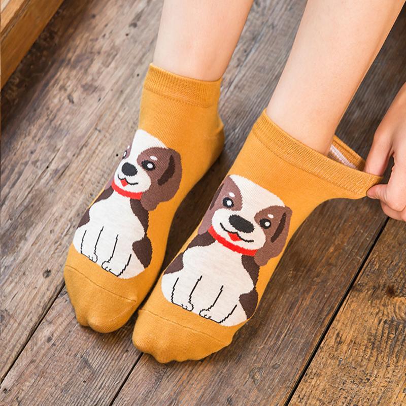 Le donne caldo Cartoon Fashion Nuovo Carino Calzini corti alla caviglia COTONE STAMPA DOG PUPPY