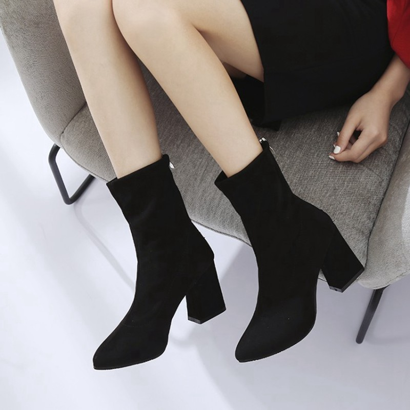 COOTELILI Fashion 8.5cm High Heels Ankle Boots For Women Black Autumn Winter Shoes Women Zipper Pumps Ladies Boots 35-39 (1)