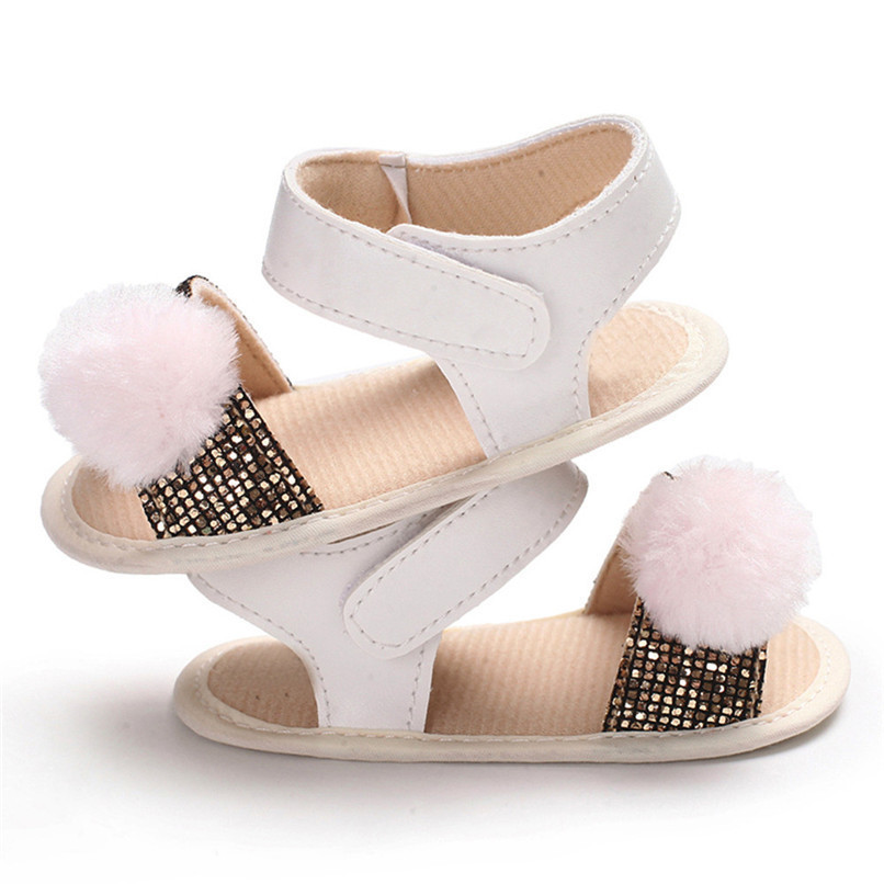 3 Color Summer Baby Girl Shoes Newborn Toddler Baby Girl Soft Ball Sequins Sandals Soft Sole Anti-slip Shoes Girl Sandals JE14#F (19)