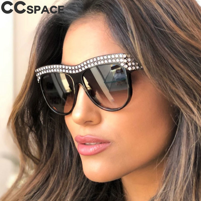 Women Luxury Sunglasses Rhinestone Square Big Frame Diamond Glasses UV400 Fashion Shades 45344