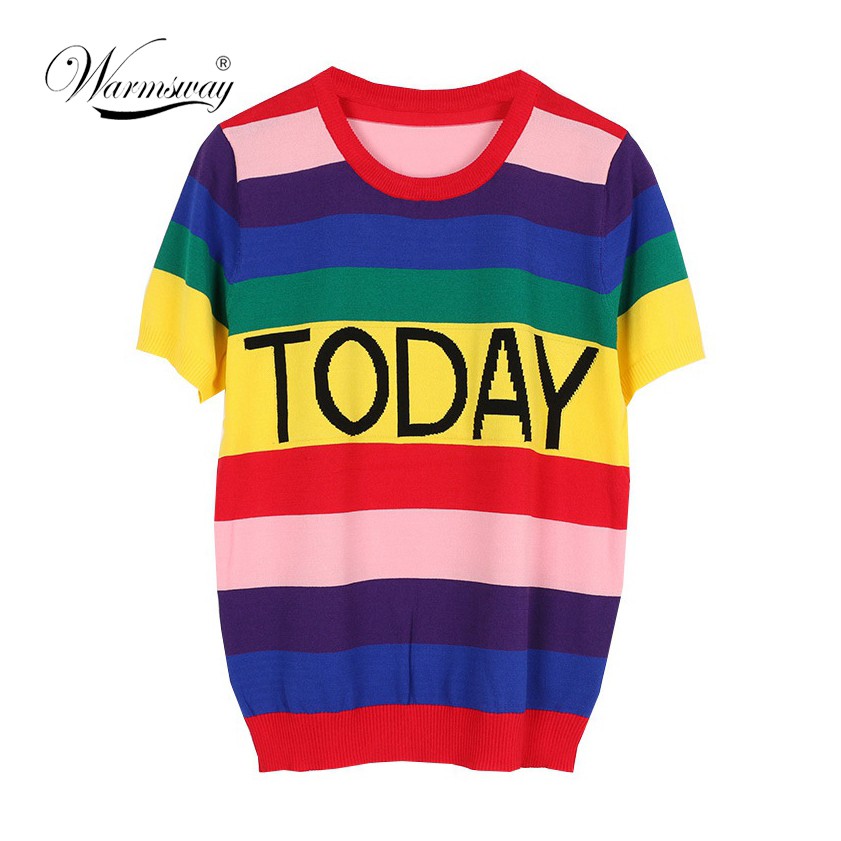 Summer Fashion Streetwear Women Colorful T Shirt Rainbow Striped Today Letter Casual T-shirt Harajuku Tumblr Tops Tees B-088