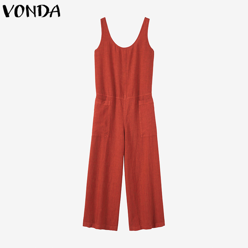 Vonda Rompers Womens Jumpsuit Wide Leg Pants Summer Casual Loose Sexy Sleeveless Cotton Overalls Plus Size M-5xl Q190508