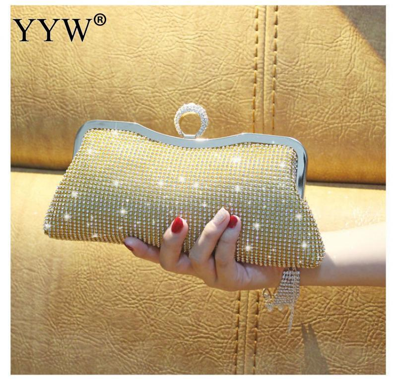 Women Rhinestone Evening Clutch Bags Mini Shiny Silver Party Luxury Clutches Bag Gold Female Handbag Purse Gillter Luxury Purse J190630
