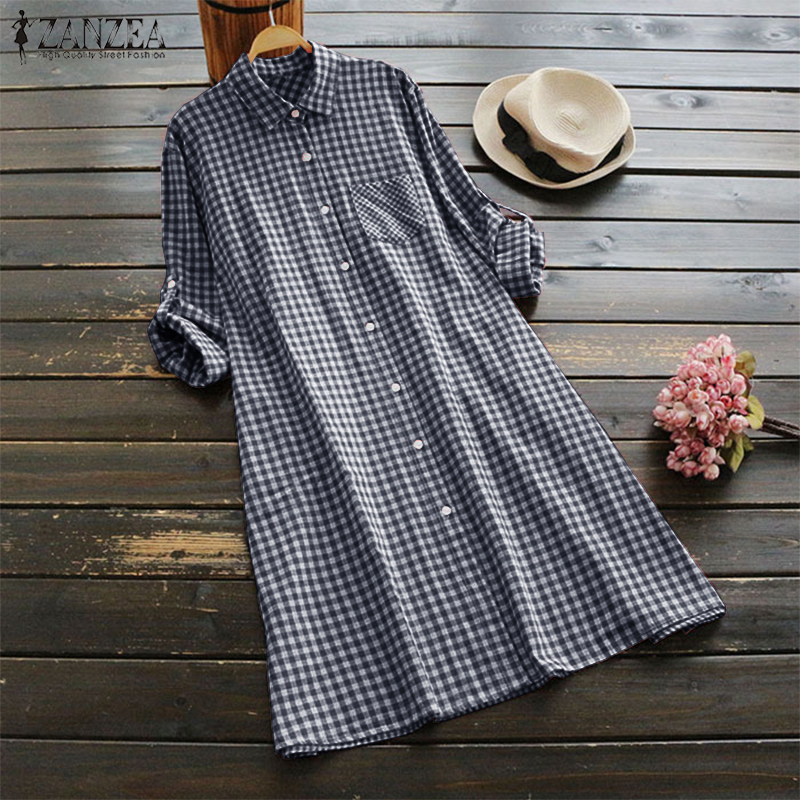 Womens Checked Shirt Dress Zanzea 2019 Vintage Short Vestido Robe Femme Long Shirts For Women Beach Sundress Button Party Dress S322