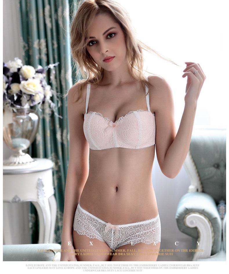 Jerrinut Sexy Lace Lingerie Set Women Underwear Seamless Push Up Bra Set Embroidery Ultra-thin Panties And Bra Set 14