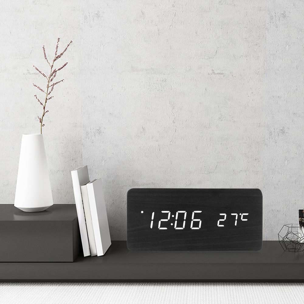 Famirosa Wooden Alarm Clock Nightlight Sound Control Time Temperature Calendar USB Desktop Table Bedside Black Wooden LED Clock C18122201