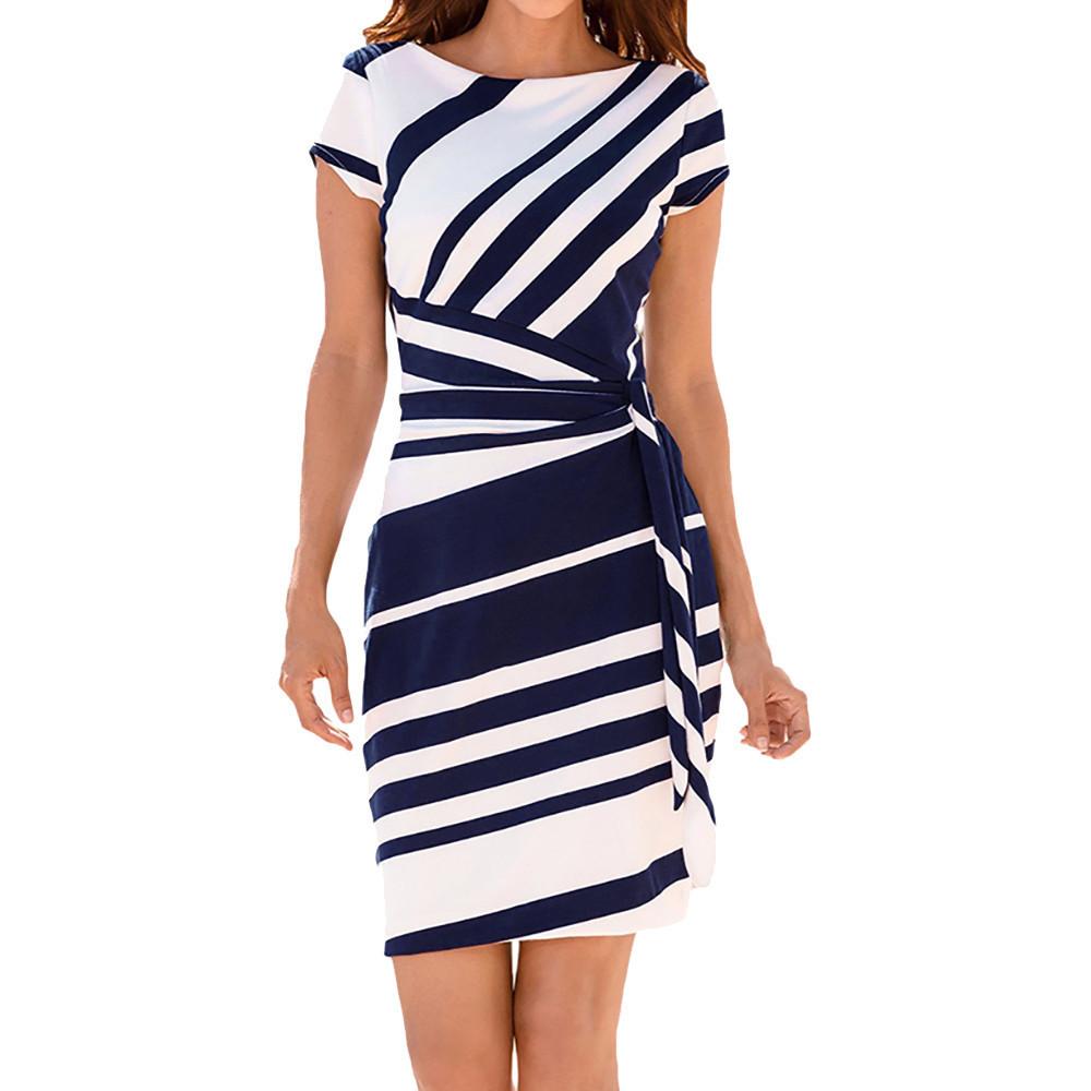 Stylish Jewelry Summer Oblique Stripes Beach Dress Womens Working Dresses Pencil Stripe Party Dress Casual Mini Dresses Dropship Y19051001