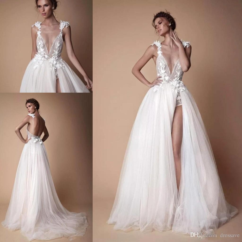 Wholesale Beach Wedding Dresses Slits - Buy Cheap in Bulk from