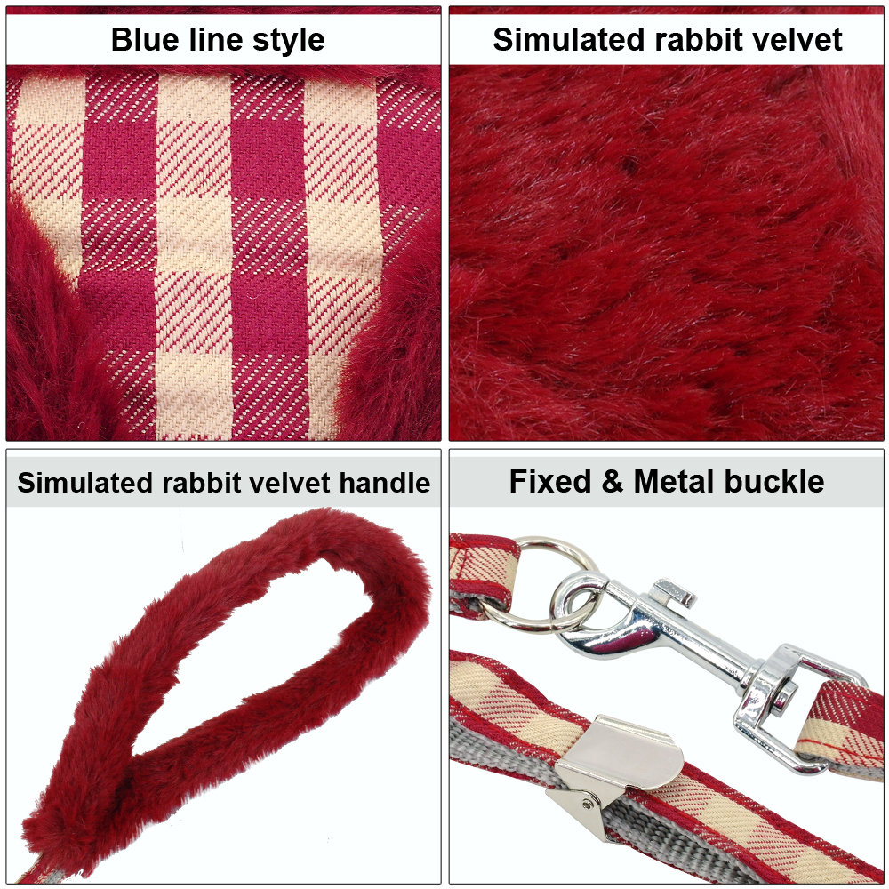 Soft Plaid Small Dog Cat Harness Leash Padded Nylon Warm Chihuahua Puppy Harness Vest and Leash Set Yorkie Traction Leads