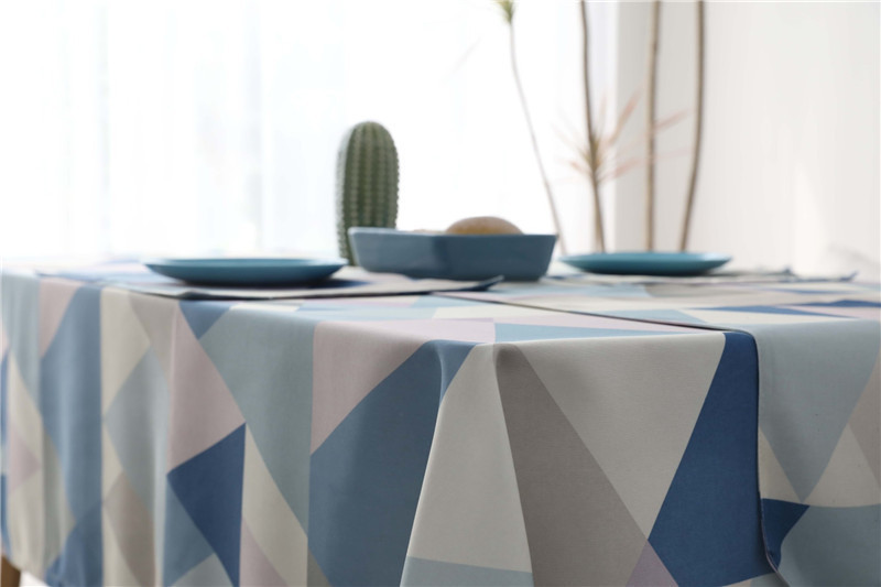 Waterproof Rectangle Dining Table Cloth Black Blue Geometric Table Cover For Wedding Party Kitchen Tablecloth Polyester Fiber T8190620