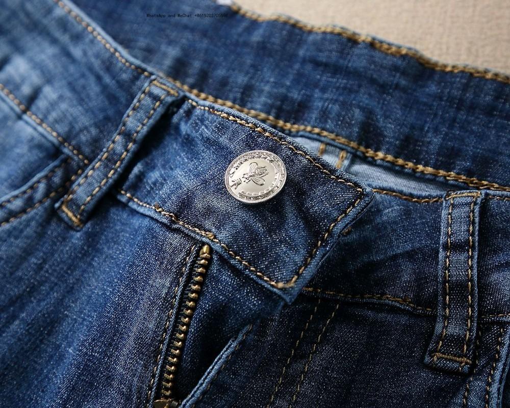 Automne Et Hiver Nouveau Modèle De Mode Jeans Homme Haute Rue Bleu Moulin Blanc Trou Mince Petits Pieds Pantalons Pantalons