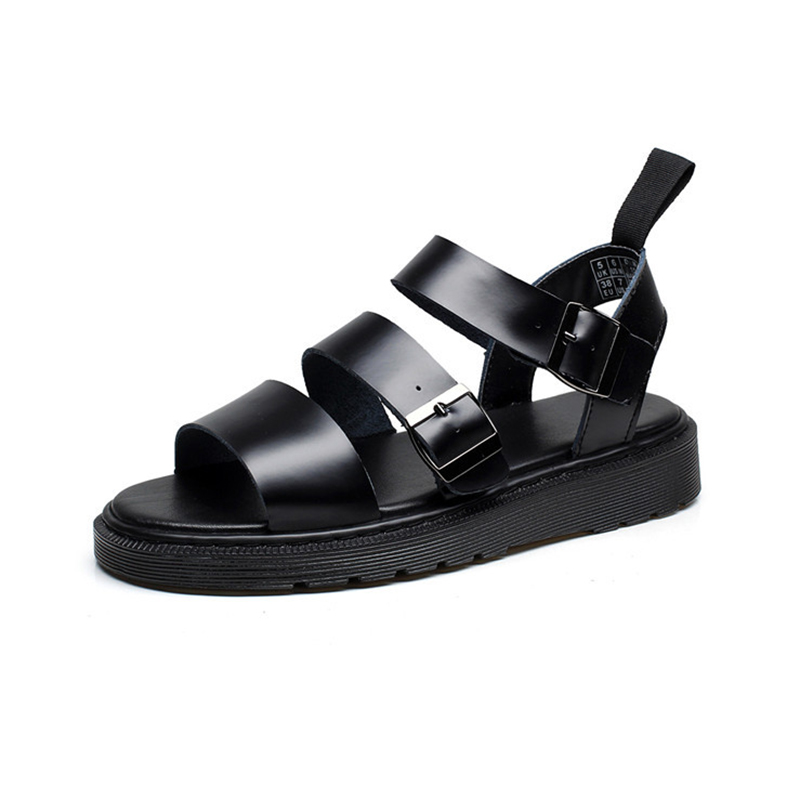 Véritable En Cuir Femmes Sandales Gladiateur D'été Chaussures 2019 Plate Forme Noir Plat Femme Casual Chaussures De Plage Sandales Pour Femme