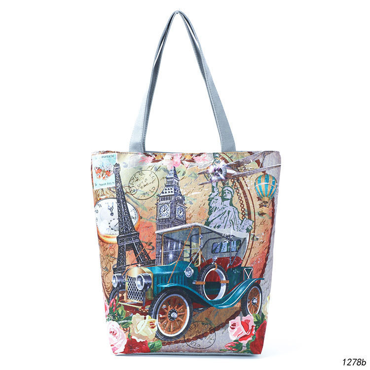 Originality Fund Statue Of Liberty Like Printing Woman Package Eternal Architecture Wallace Clock Single Shoulder Package Woman Shopping Bag