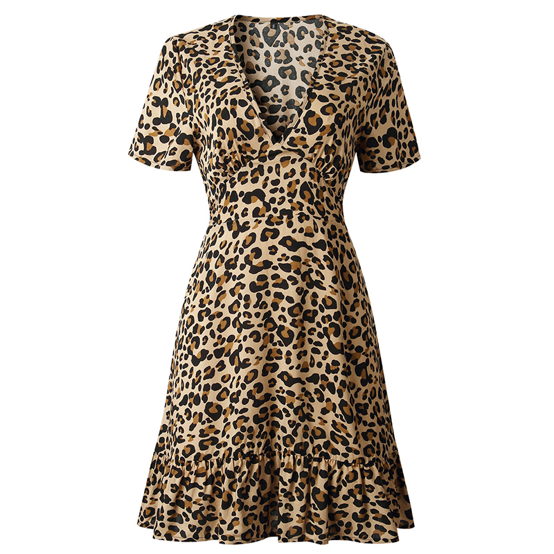 Forefair Print Leopard Dress sexy women short sleeve v neck Ruffle high waist Hem mini a line casual summer dress 2019 vestidos (24)